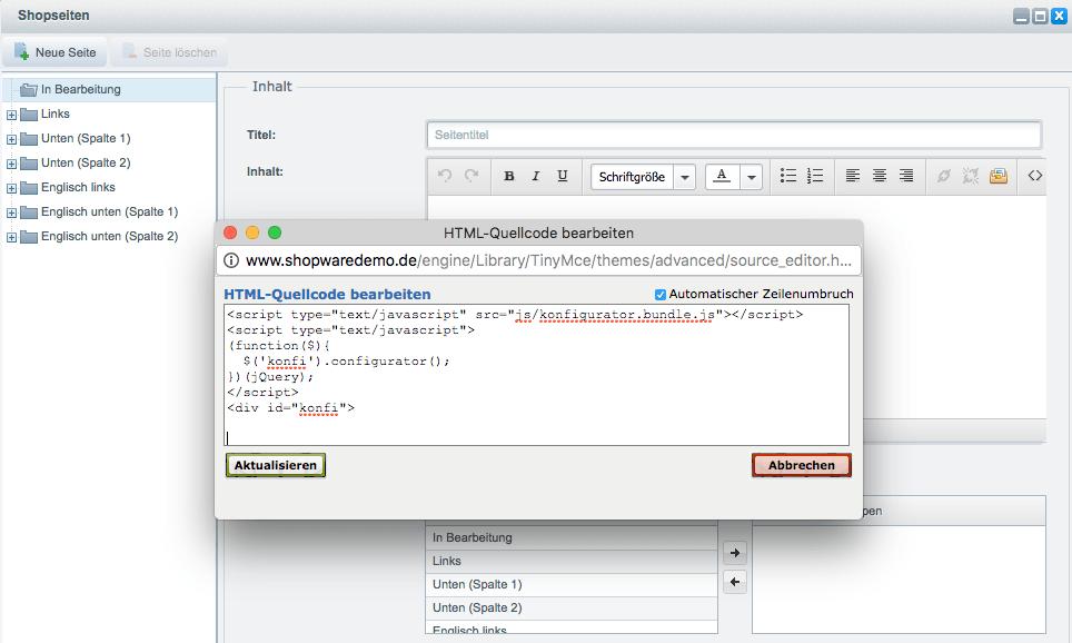 Integration Konfigurator der ObjectCode GmbH in ShopWare