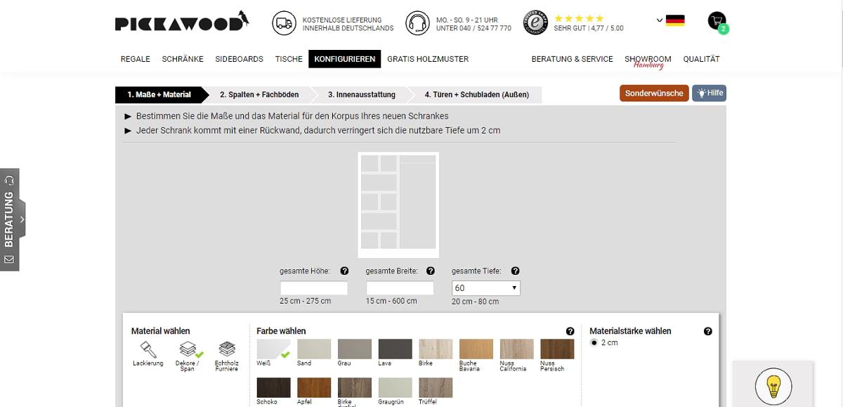 pickawood screenshot schrankkonfigurator maßschrank