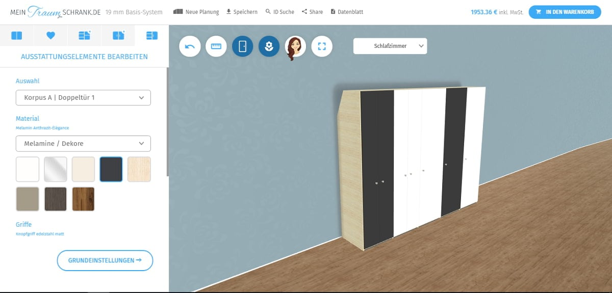 traumschrank screenshot schrankkonfigurator maßschrank ObjectCode GmbH