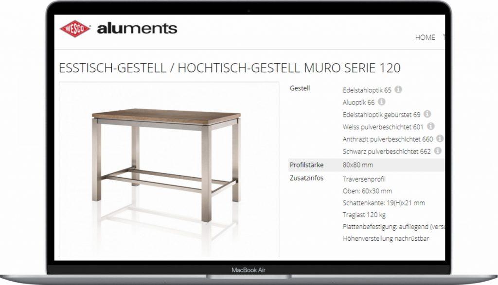 wesco konfigurator tisch